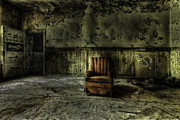 Gray Building Framed Prints - The Asylum Project - The Empty Chair Framed Print by Erik Brede