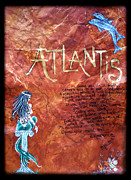 Old Map Painting Originals - The Atlantis Myth by Absinthe Art By Michelle LeAnn Scott