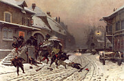 Snowy Roads Painting Prints - The Attack at Dawn Print by Alphonse Marie De Neuville
