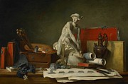 Papers Prints - The Attributes of the Arts and the Rewards Which Are Accorded Them Print by Jean Baptiste Simeon Chardin