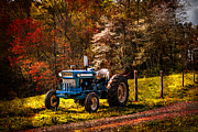 Country Lanes Photo Posters - The Autumn Blues Poster by Debra and Dave Vanderlaan