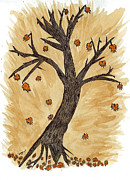 Moment Of Life Prints - The Autumn Forest Will Die Happily To Re-birth A Tree Created With Tea Print by Nikunj Vasoya