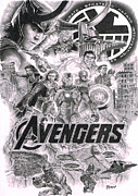 Thor Drawings - The Avengers by David Horton