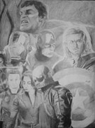 Blue And Gray Drawings - The Avengers by Milton  Gore