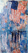 American Flags Framed Prints - The Avenue In The Rain Framed Print by Frederick Childe Hassam