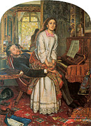 Man And Woman Framed Prints - The Awakening Conscience Framed Print by William Holman Hunt