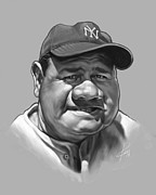 Yankees Portraits Prints - The Babe Print by Chris Ross
