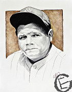 Baseball Drawings Posters - The Babe Poster by Emmanuel Gonzales