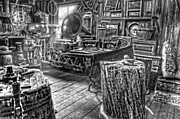 Country Store Metal Prints - The Back Room Black and White Metal Print by Ken Smith