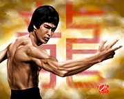 Bruce Lee Paintings - The Baddest by Pete Tapang