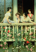 Carnation Painting Prints - The Balcony Print by Eugen von Blaas