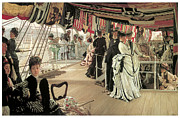 Sailing Vessels Framed Prints - The Ball on Shipboard Framed Print by James Tissot