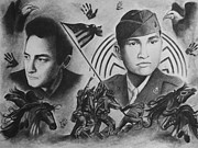 World War 2 Drawings Prints - The Ballad Of Ira Hayes Print by Amber Stanford