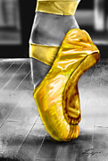 Dance Shoes Painting Posters - The Ballerina N Yellow  Poster by Reggie Duffie