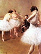 Ballet Dancers Painting Framed Prints - The Ballet Lessons Framed Print by Pg Reproductions