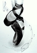 Dance Shoes Drawings Prints - The Ballet Shoes Print by Lynn Hughes