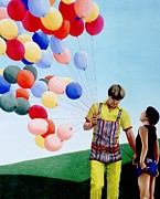 Red Balloons Prints - The Balloon Man Print by Michael Swanson