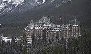 Family Vacation Framed Prints - The Banff Springs Hotel Framed Print by Bill Cubitt