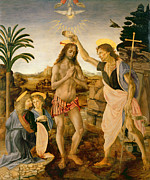 Shirt Paintings - The Baptism of Christ by John the Baptist by Leonardo da Vinci