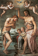 Baptism Painting Posters - The Baptism of Christ Poster by Giorgio vasari