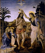 Baptism Paintings - The Baptism Of Christ by Leonardo Da Vinci