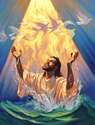 Christian Artwork Painting Prints - The Baptism of Jesus Print by Jeff Haynie