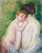 Female; Nude; Mother And Child; Baby; Bare; Back; View; American Impressionist; Portrait; Seated; Half Length; Drawing; Pastel; Mary Cassatt Stevenson Prints - The Bare Back Print by Mary Cassatt Stevenson