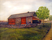 Revolutionary War Painting Originals - The Barn at Rolling Green Farm by Loretta Luglio