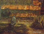 Owl Greeting Card Prints - The barn Print by Gilles Delage