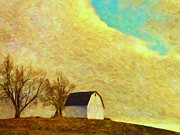 Old Barn Paintings - The Barn on the Hill by Dominic Piperata