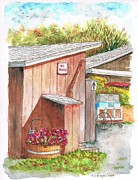 Barn Drawings Posters - The Barn outhouse in Avila Beach - California Poster by Carlos G Groppa