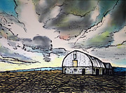 Dramatic Mixed Media Originals - The Barn by Wendy Boomhower