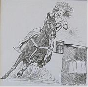 Racer Drawings Posters - The Barrel Racer Poster by Wanda Dansereau