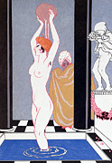 Nude Woman Water Posters - The Basin Poster by Georges Barbier