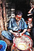African-american Pastels Framed Prints - The Basket Weaver Framed Print by Vannetta Ferguson