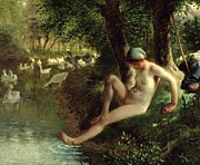 Swan Framed Prints - The Bather Framed Print by Jean Francois Millet