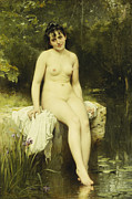 French School; (19th Century) Metal Prints - The Bather Metal Print by Leon Bazile Perrault