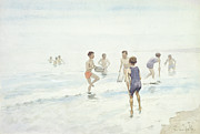 Children At Beach Prints - The Bathers Print by Edward van Goethem