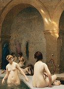 Turkish Painting Framed Prints - The Bathers Framed Print by Jean Leon Gerome