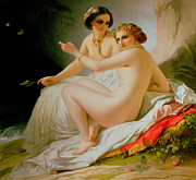 Blanket Framed Prints - The Bathers Framed Print by Louis Hersent