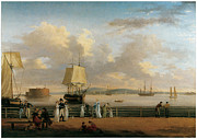 Battery Paintings - The Battery and Harbor by Thomas Birch