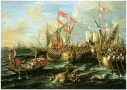 Sailing Ships Painting Framed Prints - The Battle of Actium 2 September 31 BC Framed Print by Lorenzo Castro