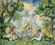 Satyr Paintings - The Battle of Love by Paul Cezanne