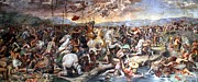 Vatican Paintings - The Battle of Milvian Bridge by Giulio Romano
