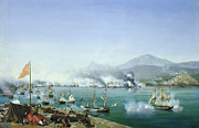 Warship Painting Posters - The Battle of Navarino Poster by Ambroise Louis Garneray