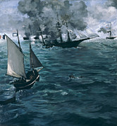Sea Vessels Framed Prints - The Battle of the USS Kearsarge and the CSS Alabama Framed Print by Edouard Manet