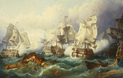 Napoleonic Wars Framed Prints - The Battle of Trafalgar Framed Print by Philip James de Loutherbourg