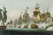 Battle Of Trafalgar Metal Prints - The Battle of Trafalgar Metal Print by Thomas Whitcombe