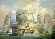 Battle Of Trafalgar Metal Prints - The Battle of Trafalgar Metal Print by William John Huggins
