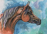 Horse Drawing Painting Prints - The Bay Arabian Horse 21 Print by Angel  Tarantella